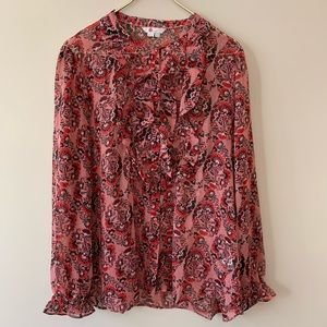 Boden Amalie pink floral ruffled blouse Sz 16